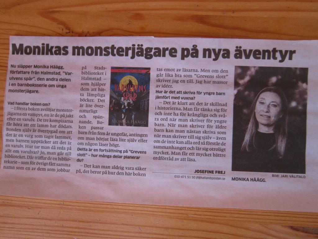 Intervju i Hallandsposten om Varulvens spår